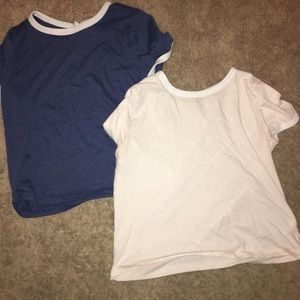 Navy Blue and pastel pink crop tops